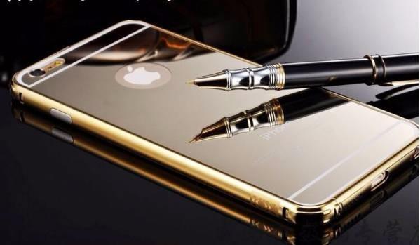 <国内発送送料無>iPhone6plus/6Splus用アルミバンパーケース鏡面バックプレート金
