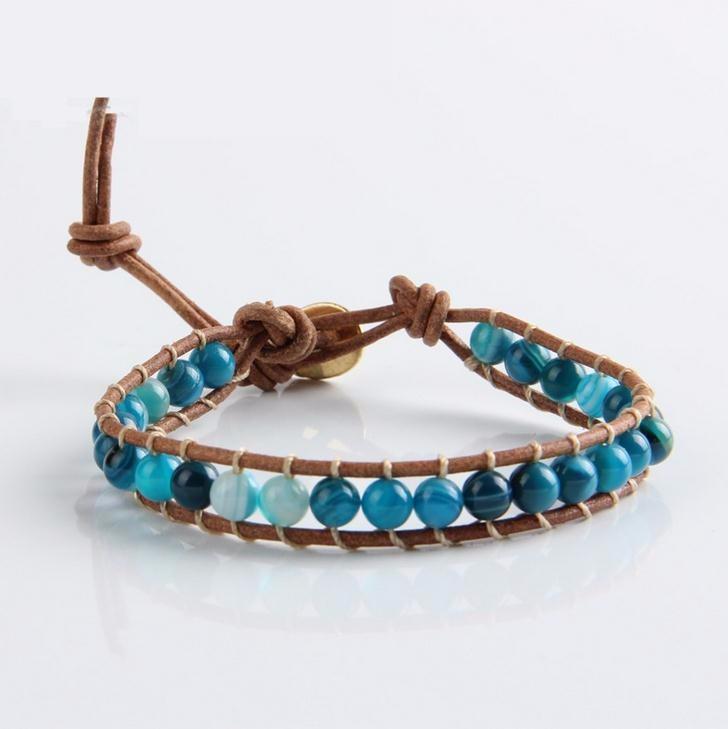 【CHAN LUU風】「手作り」∕ 藍紋メノウ シーブルーアゲート*1連ブレスレット「ユニセックス」 チャンルー風
