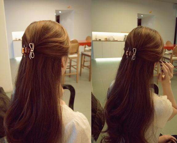 ヘアクリップ クリスタルモチーフリボン「ヘアアクセサリー 髪飾り 簡単ヘアアレンジ」
