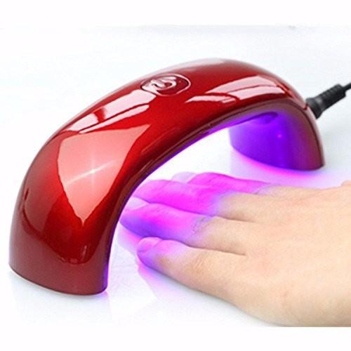 <国内発送送料無>LED UVライト ドライヤー(赤) ジェルネイル用 スーパープロフェッショナル ネイルケア用9W 100V-240V マニキュア用 ミニサイズ ネイルドライヤー (赤)