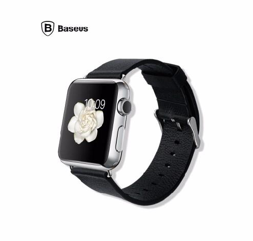 「正規品」 Apple Watch 38mm用 本革 レザー時計ベルト(黒)