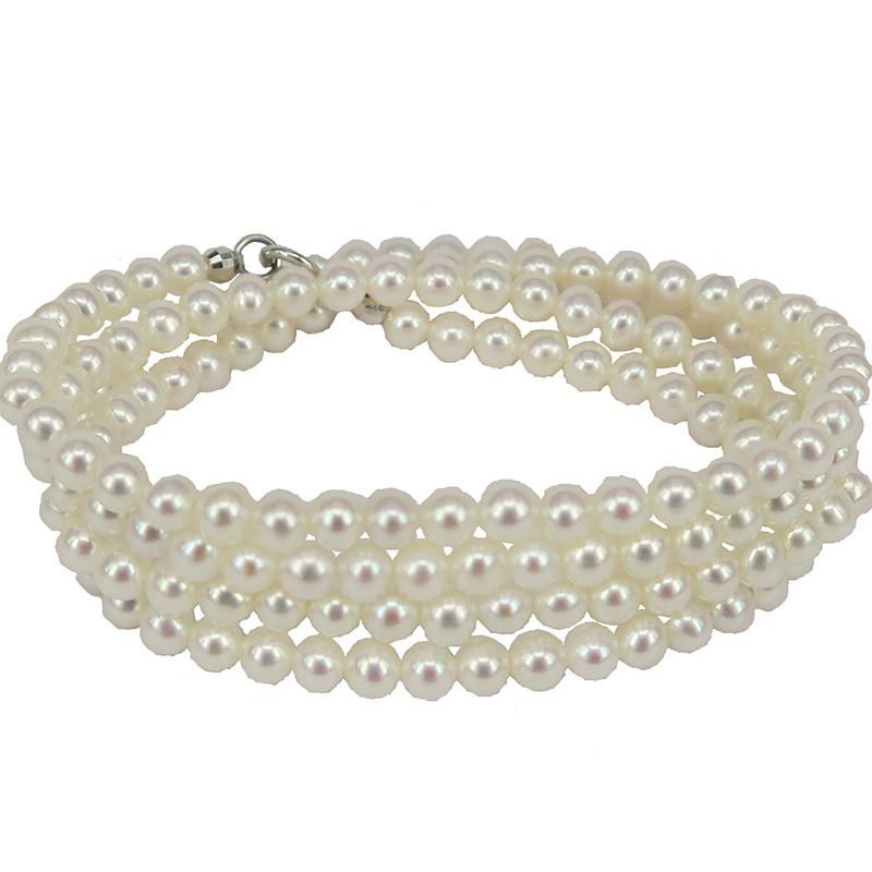 ブレスレット 3mm ナチュラル淡水真珠 ネックレス 3mm K18ゴールド 誕生日の贈り物