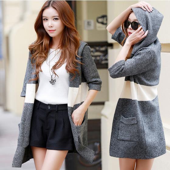 韓国は、やせている、やせている縞セーターコート