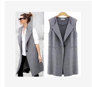 欧米の新型のストリートファッションの1枚のボタンのレディースのベスト-1