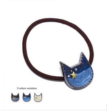 ヘアゴム 猫モチーフ 星つき 可愛い ヘアアクセサリー