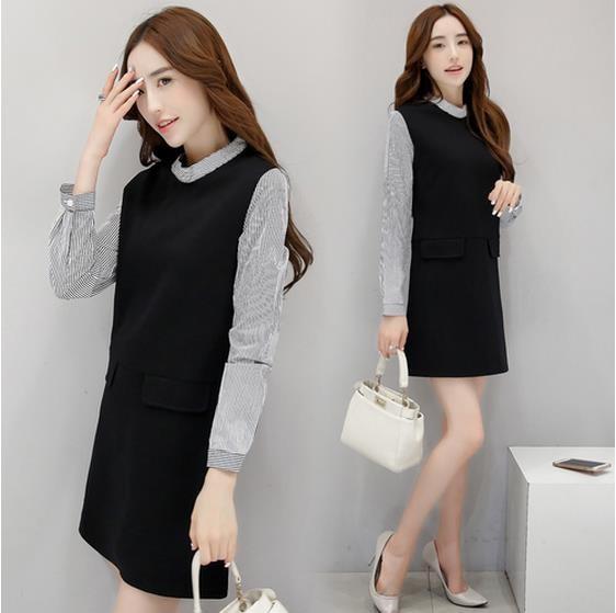 新型版ファッション修身やせ长袖のワンピース-1