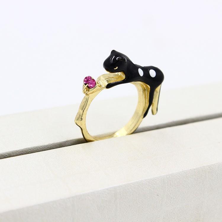 黒ネコ&蝶のリング