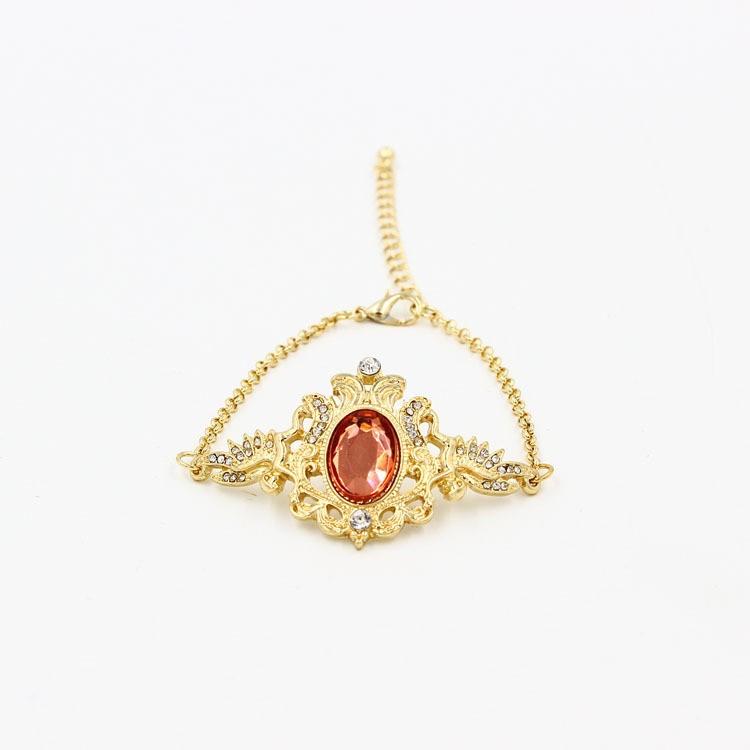 アンティークのレッド宝石のプレスレット-1