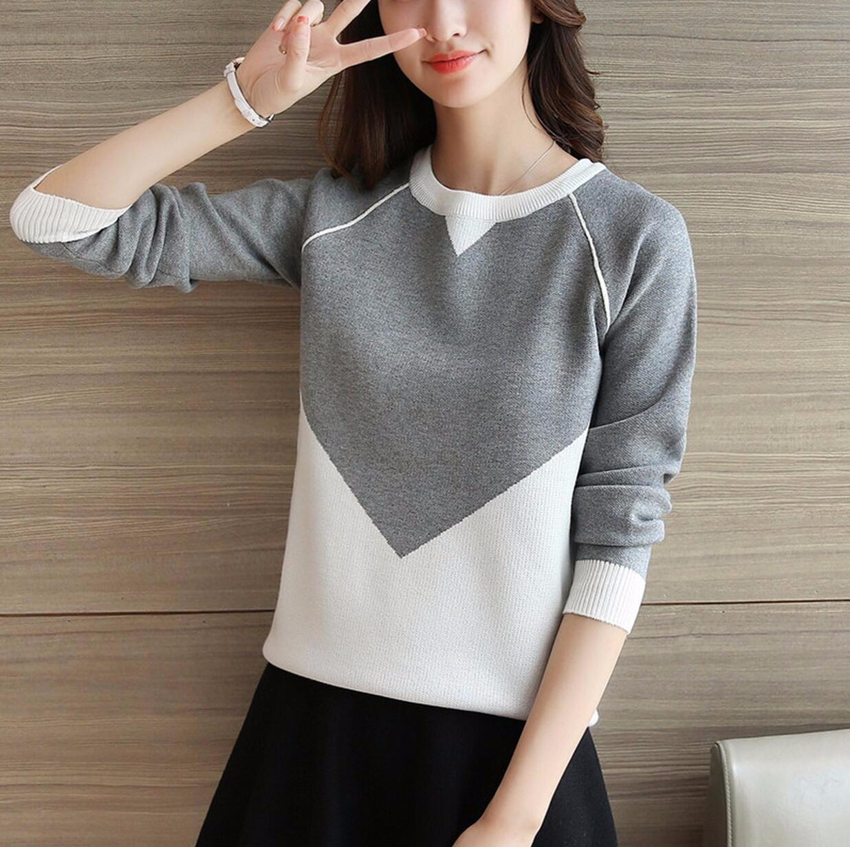 ファッションレディースシンプル可愛いセーター洋服ニット-1