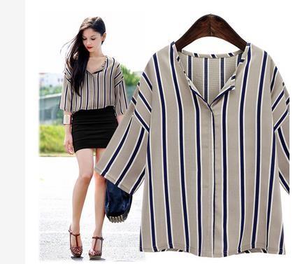 風格の縞模様の小さいシャツの五分袖のワイシャツのシャツ
