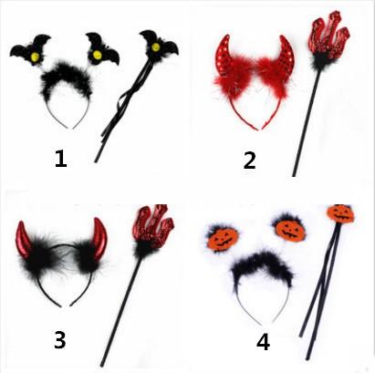ハロウィン仮装道具 【カチューシャとステッキ/叉】二点セット 悪魔/かぼちゃ/コウモリ