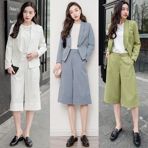スーツジャケット+ワイドパンツ 韓国ファッション レディース2点セット ガウチョパンツ クロップドパンツ ストライブ