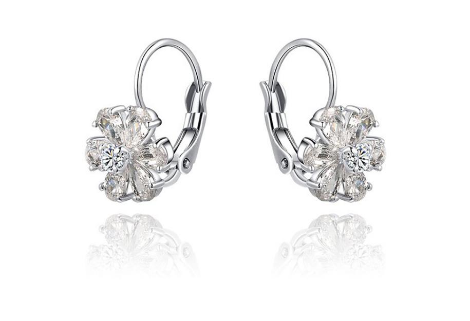 OLスタイルのイヤリング 花びらに付きイヤーカフ クリスタルとジルコンモチーフ