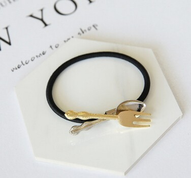 日系メタル製ヘアアクセサリー 匙とフォークに付きヘアゴム