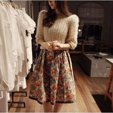 韓国スタイル   流行   毛糸のセーター   スカーフプリント    スーツ