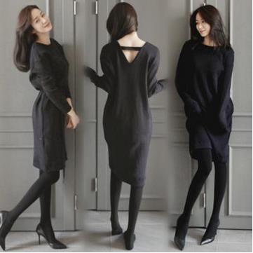 韓国    新型のVネック    長袖        ゆったりします    ニット  中長いワンピース