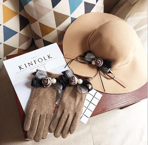 バラモチーフ豪華的な手袋 グローブ&帽子セット  2016秋冬新作