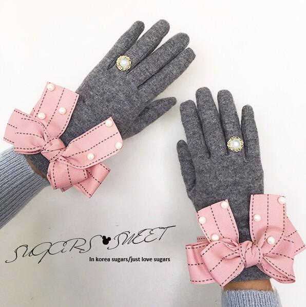 ピンクリボン付き 上品な手袋/グローブ 2016秋冬新作-1