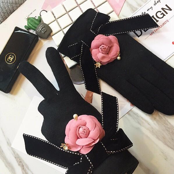 ピンク椿&蝶結びの上品な手袋/グローブ 2016秋冬新作