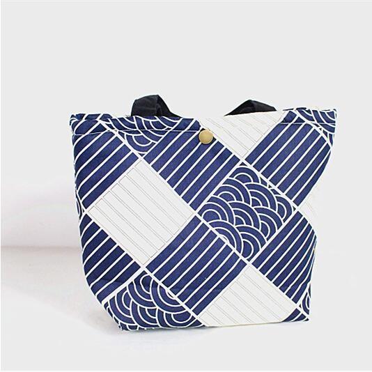 弁当バッグ 波モチーフ エコ帆布バッグ 麻綿 保温バッグ-1
