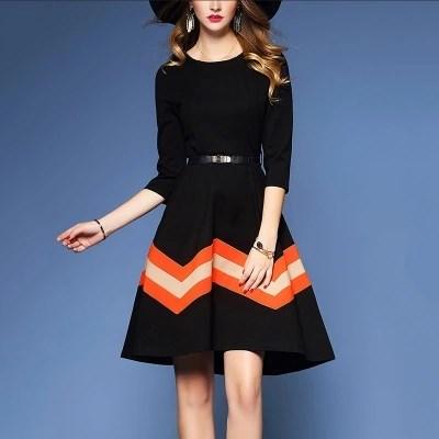 秋ファッション   レディースファッション   スリム   スッキリウェストライン   けい帯   縞模様   長袖   ワンピース