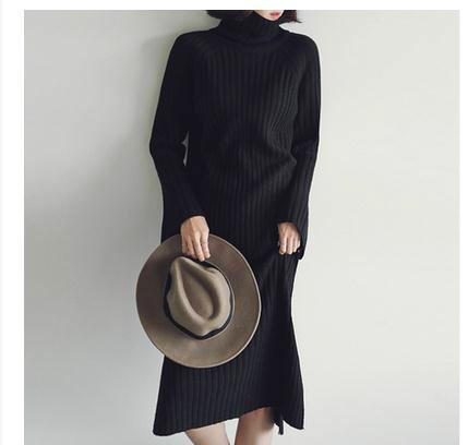 無地のタートルネックの毛糸のセーター
