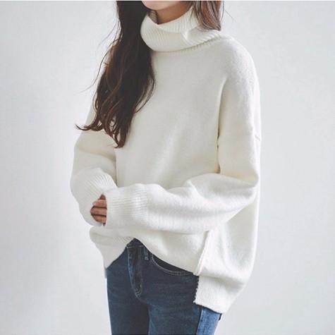 高襟プルオーバーセーター ゆったりハイネックニットプルオーバー 前が短い後ろが長い ニットウエア スウェット 暖かい ホワイト レディース トップス 長袖セーター