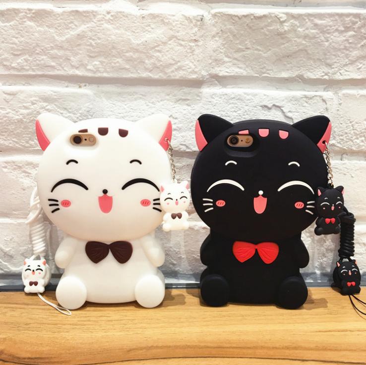 【iphone用保護ケース】  かわいいネコカバー   にこにこ猫   2色