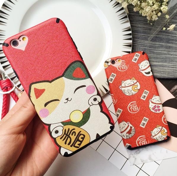 iphone用保護ケース】   招き猫     磨き砂面カバー 2型