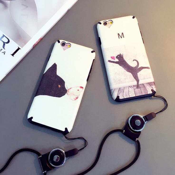【iphone用保護ケース】可愛いネコモチーフ、ストラップ付属