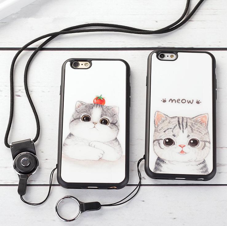 【iphone用保護ケース】可愛いネコモチーフ ストラップ付属