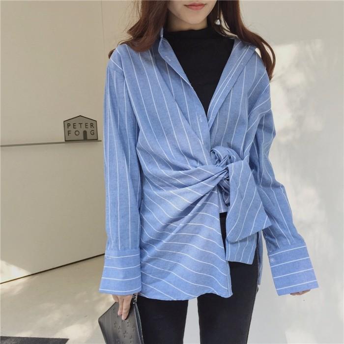 韓国ファッション★レディース 不規則シャツ ブラウス ストライブ