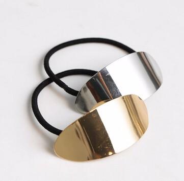 ヘアゴム 金属楕円 シンプル 2色
