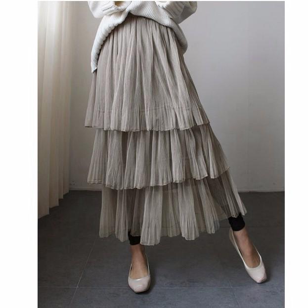 メッシュスカート ロングチュールスカート ブリーツスカート 新作フレアスカート