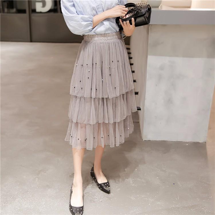 チュールスカート ミディアム丈スカート ミモレ丈スカート ビーズ飾り レディースファッション新作