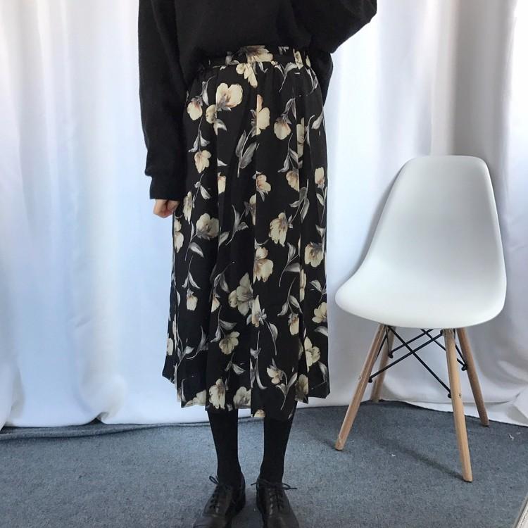 ロングスカート 花柄プリントスカート サキューラースカート 韓国ファッション★レディース