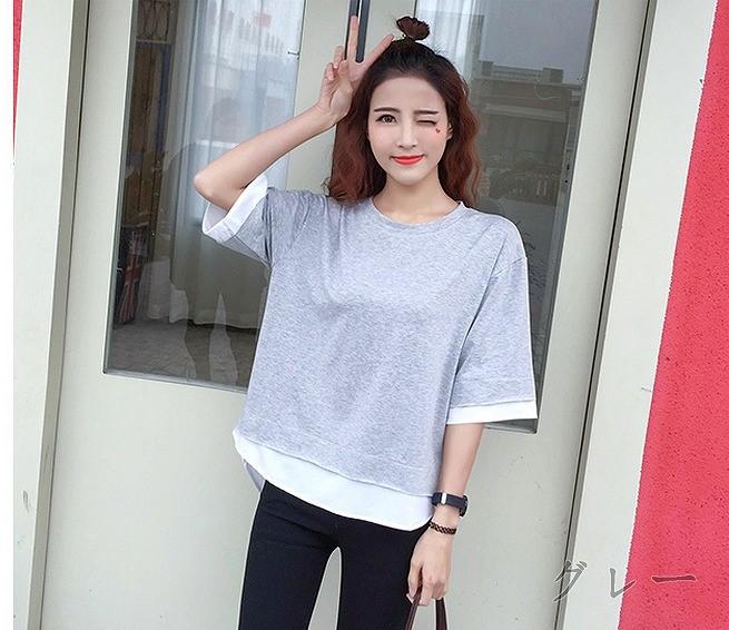 Tシャツ♪ブラック/グレー2色◇ge49206c-7gd【2017春夏商品】