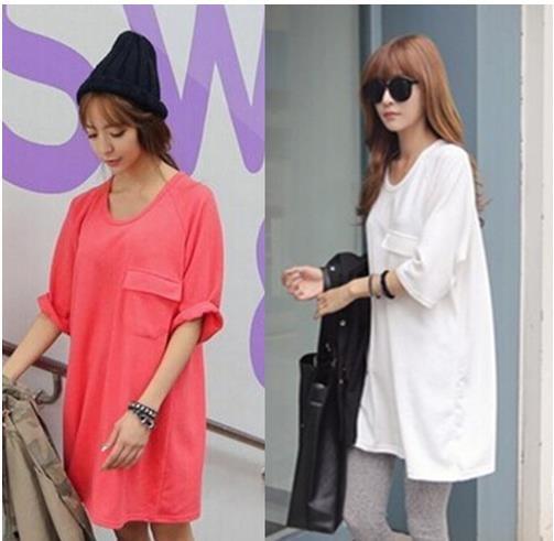 韓版のゆとりで底が純色の半袖tシャツ