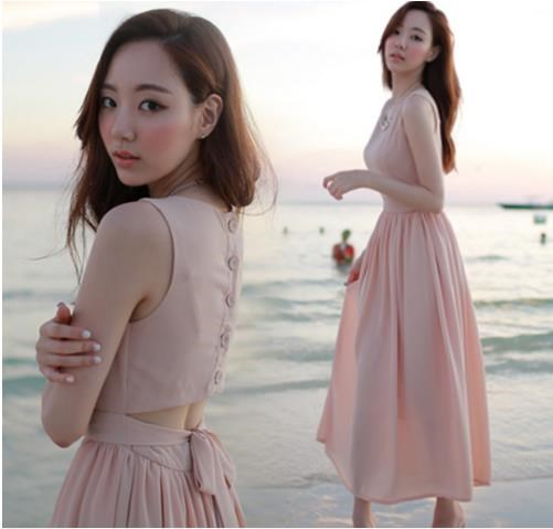 韓国新型セクシー露背袖なしの大ポーズシフォンドレス