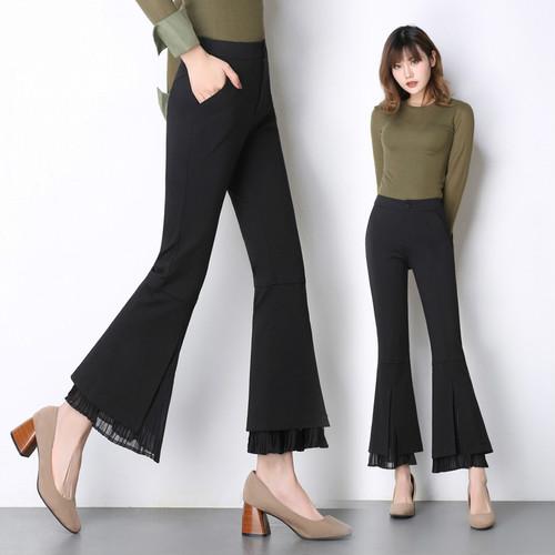 ベンツのカジュアルパンツのシフォンはスリムのブーツカットのズボンをつなぎ合わせます