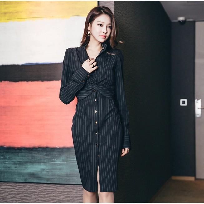 ストライブシャツワンピース スリム 長袖ワンピース 通勤 春新作 韓国ファッション