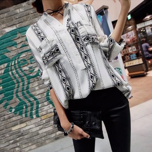 韓国ファッション レディース Vネック民族風ブラウス 通勤