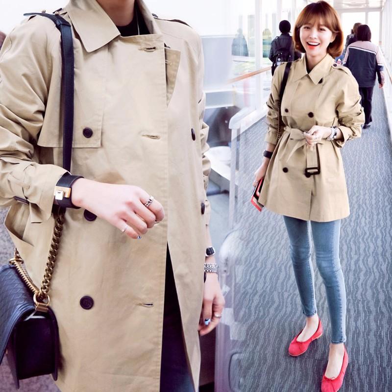 韓国ファッション レディース ミディアム丈トレンチコート アウター ジャケット ベージュ
