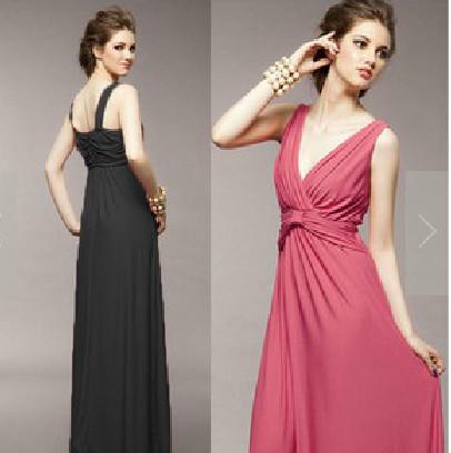韓国風 Vネック セクシーシフォン マキシ丈ワンピース ドレス